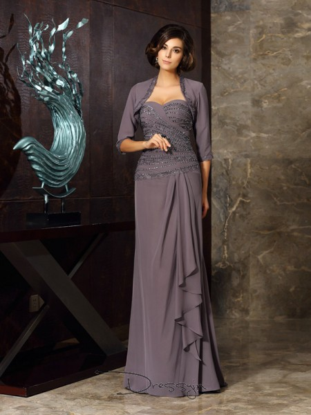 Sheath/Column Sleeveless Chiffon Beading Applique Sweetheart Floor-Length Mother of the Bride Dresses