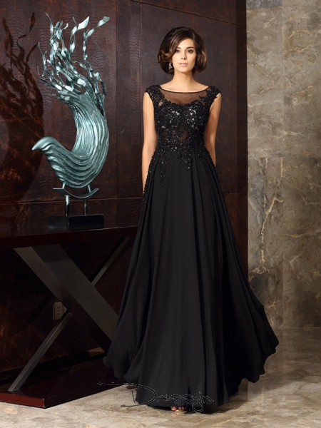 A-Line/Princess Sleeveless Chiffon Applique Scoop Floor-Length Mother of the Bride Dresses