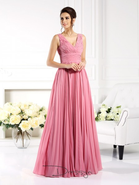A-Line/Princess Sleeveless Chiffon Pleats Sweetheart Floor-Length Dresses