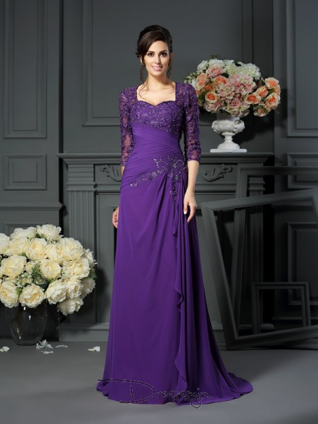 A-Line/Princess 1/2 Sleeves Chiffon Applique Sweetheart Floor-Length Mother of the Bride Dresses