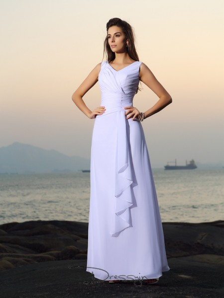 A-Line/Princess Sleeveless Chiffon Pleats Beading V-neck Floor-Length Wedding Dresses
