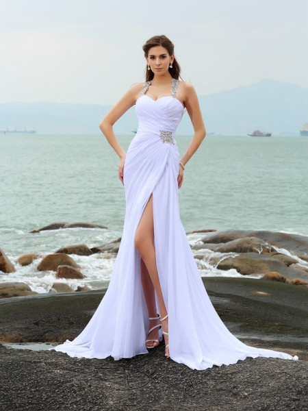 Sheath/Column Sleeveless Beading Chiffon Chapel Train Straps Wedding Dresses