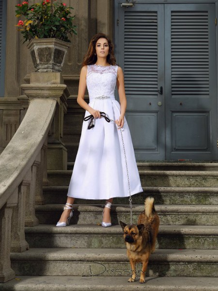 A-Line/Princess Sleeveless Applique Satin Ankle-Length Bateau Wedding Dresses