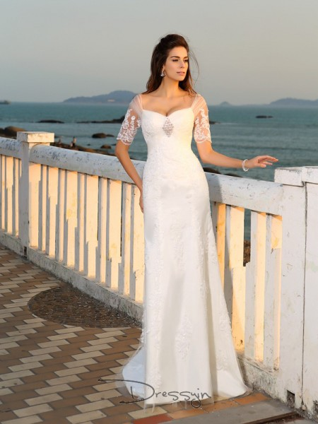 Sheath/Column Short Sleeves Applique Satin Floor-Length Sweetheart Wedding Dresses