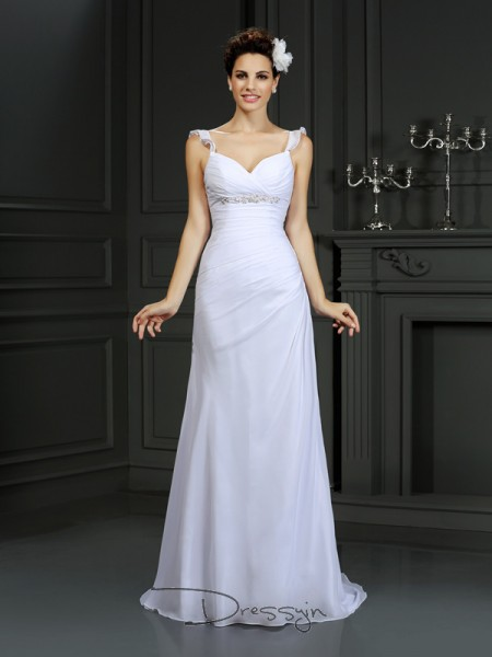 Trumpet/Mermaid Sleeveless Beading Chiffon Court Train Straps Wedding Dresses