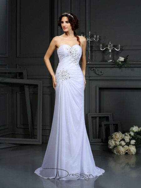 Sheath/Column Sleeveless Beading Chiffon Sweep/Brush Train Sweetheart Wedding Dresses
