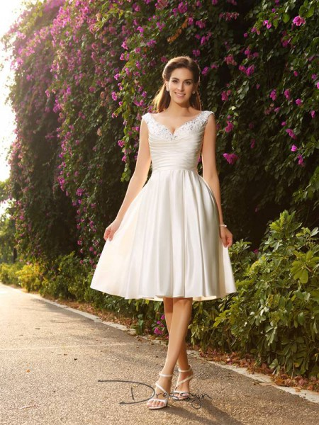 A-Line/Princess Sleeveless Beading Satin Tea-Length V-neck Wedding Dresses