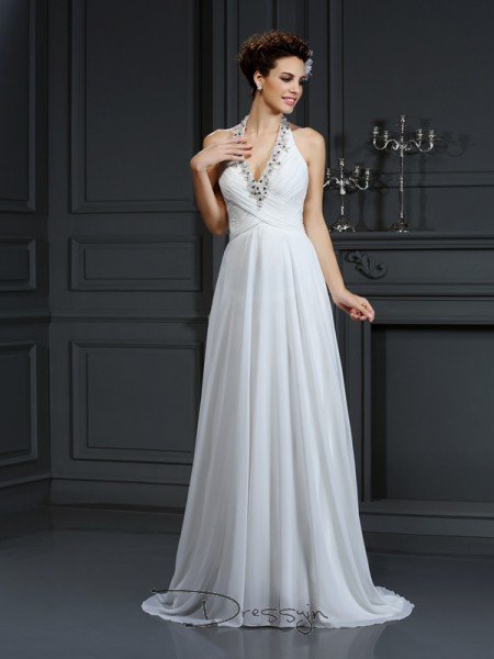 A-Line/Princess Sleeveless Beading Chiffon Court Train Halter Wedding Dresses