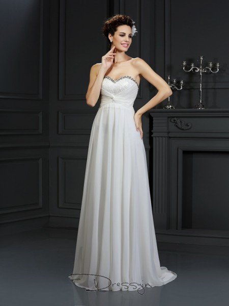 A-Line/Princess Sleeveless Ruffles Chiffon Chapel Train Sweetheart Wedding Dresses