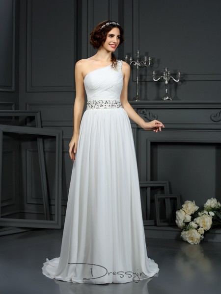 A-Line/Princess Sleeveless Beading Chiffon Court Train One-Shoulder Wedding Dresses