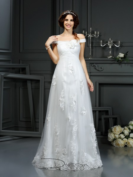 A-Line/Princess Sleeveless Applique Net Court Train Off-the-Shoulder Wedding Dresses