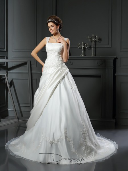 Ball Gown Sleeveless Applique Satin Chapel Train Straps Wedding Dresses