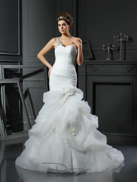 Trumpet/Mermaid Sleeveless Ruffles Satin Chapel Train Sweetheart Wedding Dresses