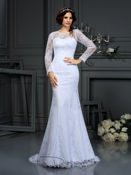 Sheath/Column Long Sleeves Lace Satin Court Train Scoop Wedding Dresses