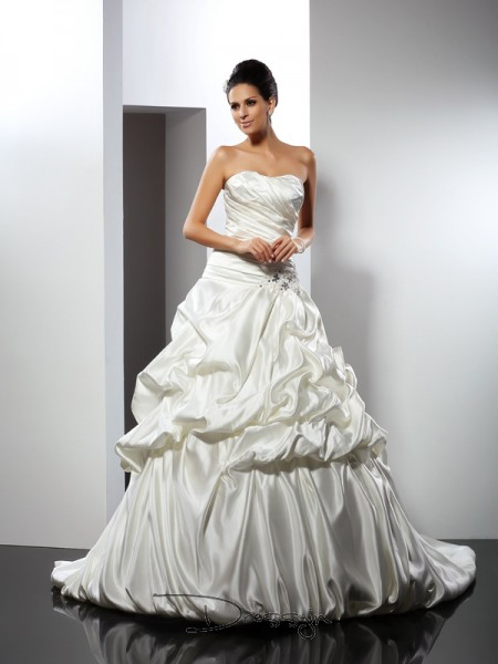 Ball Gown Sleeveless Satin Cathedral Train Sweetheart Wedding Dresses