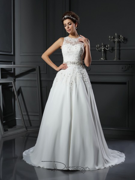 A-Line/Princess Sleeveless Beading Applique Satin Chapel Train High Neck Wedding Dresses