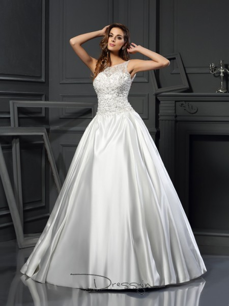 Ball Gown Sleeveless Applique Satin Chapel Train Scoop Wedding Dresses
