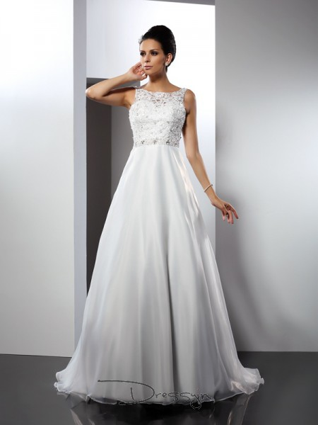 A-Line/Princess Sleeveless Ruffles Satin Chapel Train Scoop Wedding Dresses