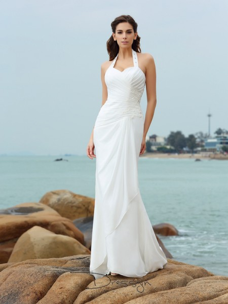 Sheath/Column Sleeveless Pleats Chiffon Court Train Halter Wedding Dresses
