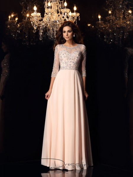 A-Line/Princess 3/4 Sleeves Beading Chiffon Floor-Length Scoop Dresses