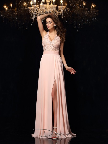 A-Line/Princess Sleeveless Lace Chiffon Sweep/Brush Train Halter Dresses