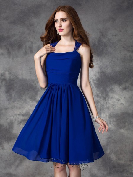 A-Line/Princess Sleeveless Ruffles Short/Mini Chiffon Straps Bridesmaid Dresses