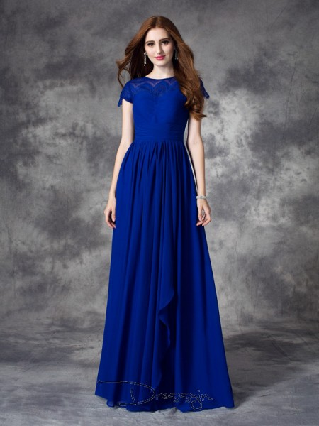 A-Line/Princess Sleeveless Lace Floor-length Chiffon Bateau Bridesmaid Dresses