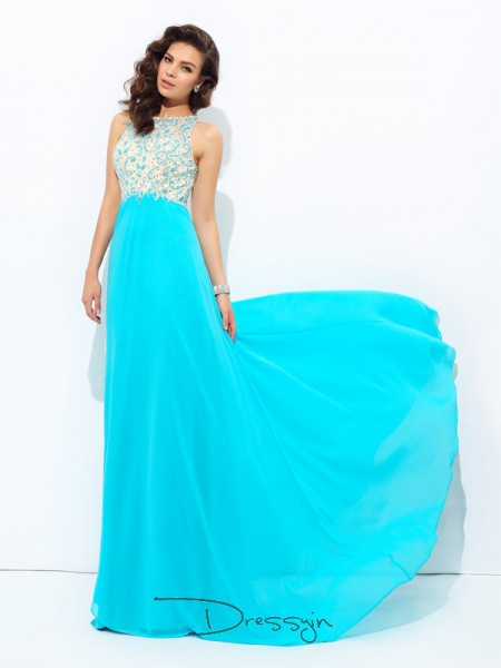 A-Line/Princess Sleeveless Beading Floor-Length Chiffon Scoop Dresses