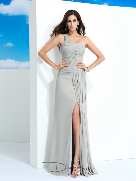 Sheath/Column Sleeveless Pleats Floor-Length Chiffon One-Shoulder Dresses