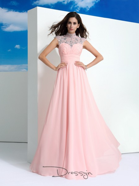 A-Line/Princess Sleeveless Beading Floor-Length Chiffon Sheer Neck Dresses