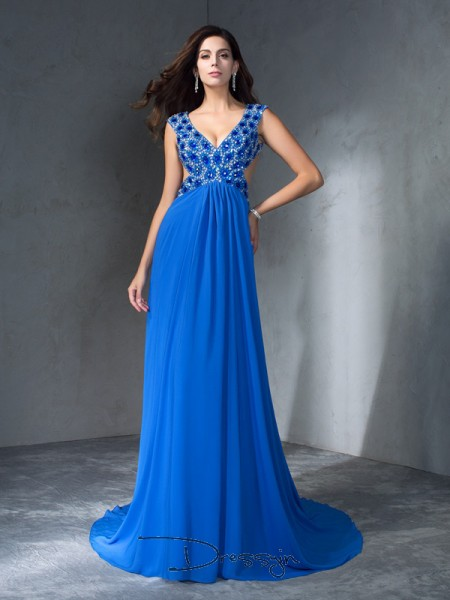 A-Line/Princess Sleeveless Sequin Sweep/Brush Train Chiffon V-neck Dresses