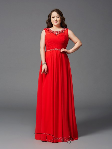 A-Line/Princess Sleeveless Beading Floor-Length Chiffon Scoop Plus Size Dresses