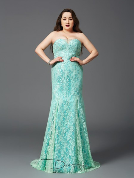 Sheath/Column Sleeveless Lace Court Train Satin Strapless Plus Size Dresses