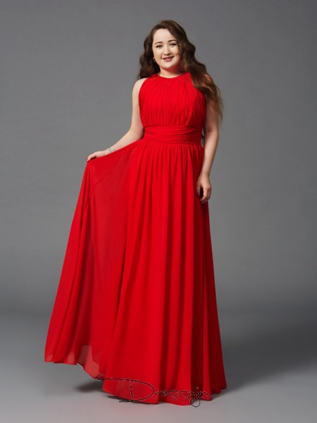 A-Line/Princess Sleeveless Ruched Floor-Length Chiffon Jewel Plus Size Dresses