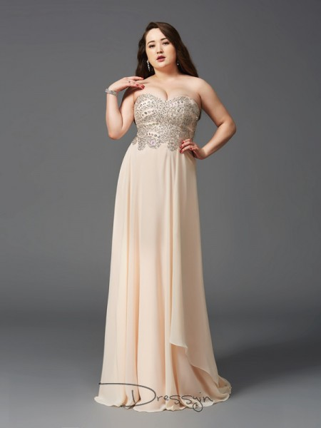 A-Line/Princess Sleeveless Rhinestone Sweep/Brush Train Chiffon Sweetheart Plus Size Dresses