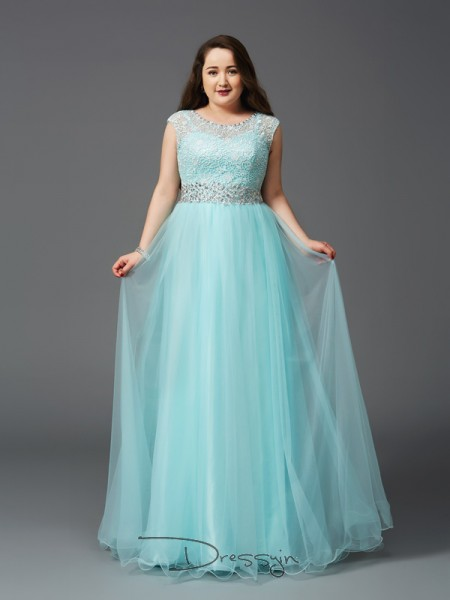 A-Line/Princess Sleeveless Rhinestone Floor-Length Elastic Woven Satin Scoop Plus Size Dresses