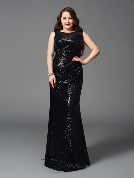 Sheath/Column Sleeveless Floor-Length Sequins Scoop Plus Size Dresses