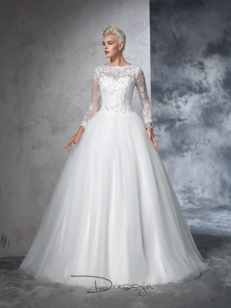 Ball Gown Long Sleeves Lace Sweep/Brush Train Net Bateau Wedding Dresses