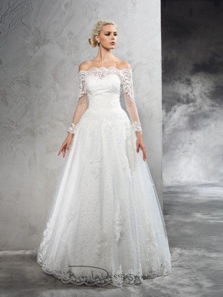 Ball Gown Long Sleeves Lace Floor-Length Net Off-the-Shoulder Wedding Dresses