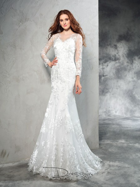 Sheath/Column Long Sleeves Lace Sweep/Brush Train Net Sheer Neck Wedding Dresses