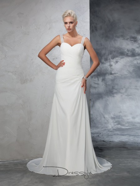 Trumpet/Mermaid Sleeveless Ruched Court Train Chiffon Straps Wedding Dresses