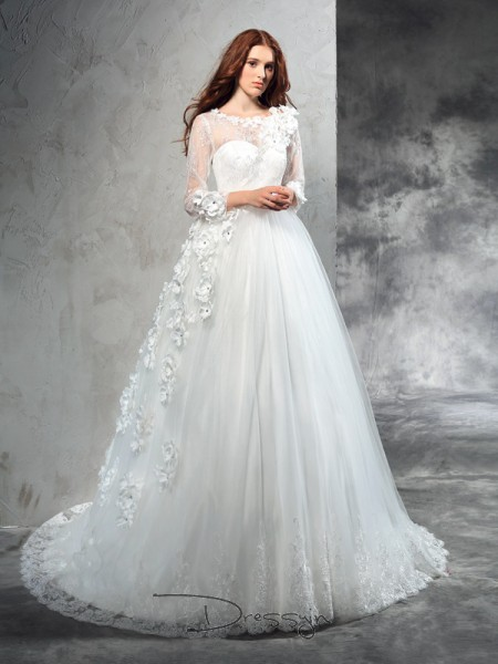 Ball Gown Long Sleeves Hand-Made Flower Court Train Net Sheer Neck Wedding Dresses