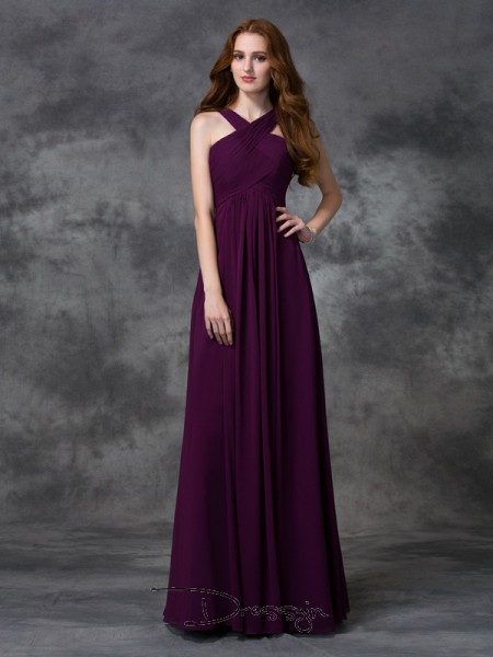A-Line/Princess Sleeveless Ruched Floor-length Chiffon Straps Bridesmaid Dresses