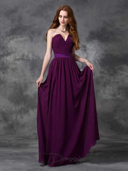 A-Line/Princess Sleeveless Ruched Floor-length Chiffon Sweetheart Bridesmaid Dresses