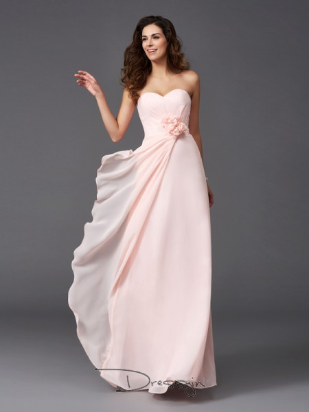 A-Line/Princess Sleeveless Hand-Made Flower Floor-Length Chiffon Sweetheart Bridesmaid Dresses
