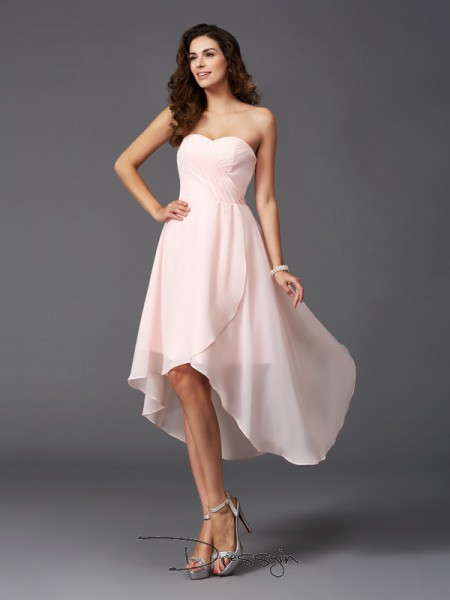 A-Line/Princess Sleeveless Ruffles Asymmetrical Chiffon Sweetheart Bridesmaid Dresses