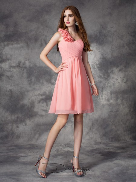 A-Line/Princess Sleeveless Hand-Made Flower Short/Mini Chiffon One-Shoulder Bridesmaid Dresses