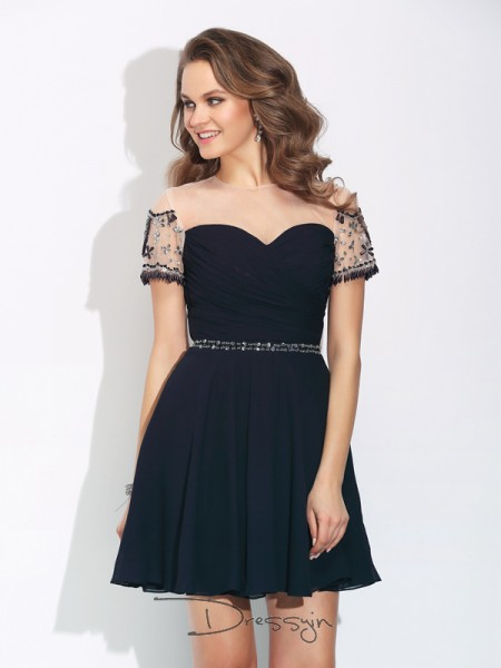 A-Line/Princess Short Sleeves Beading Short/Mini Chiffon Jewel Dresses