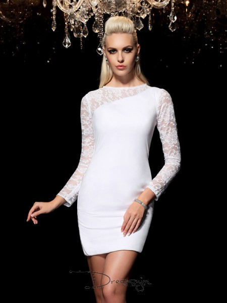 Sheath/Column Long Sleeves Lace Short/Mini Elastic Woven Satin Scoop Dresses