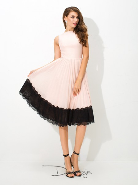 A-Line/Princess Sleeveless Lace Tea-Length Chiffon High Neck Dresses